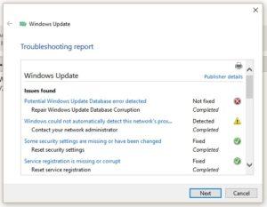 Potential Windows Update database error