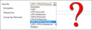 WPA or WPA2 security protocol.