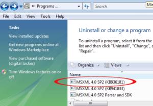 Repair Windows MSXML files