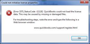 QuickBooks Error 3371 Status Code 11118