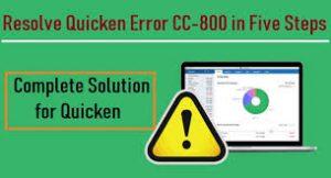 Quicken error CC-800