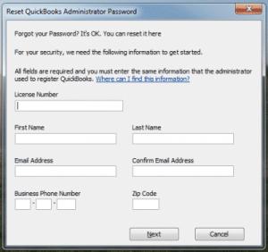 Crack Quickbooks password