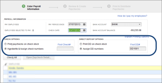 Create paychecks in Quickbooks